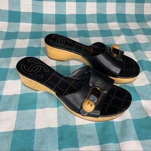 Chanel Vintage Leather Wooden Clogs Mules Sandals